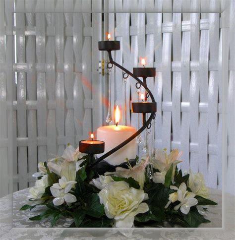 Center Table Decoration Home centro de mesa con flores y velas sobre herrer 237 a