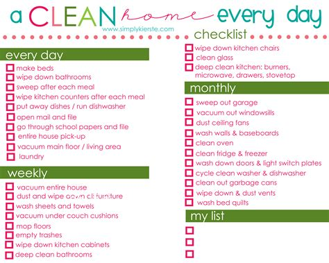 daycare cleaning checklist templates a clean home simply kierste design co