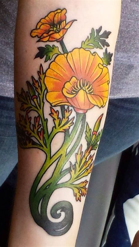 tattoo zoo nouveau inspired california poppy by larose