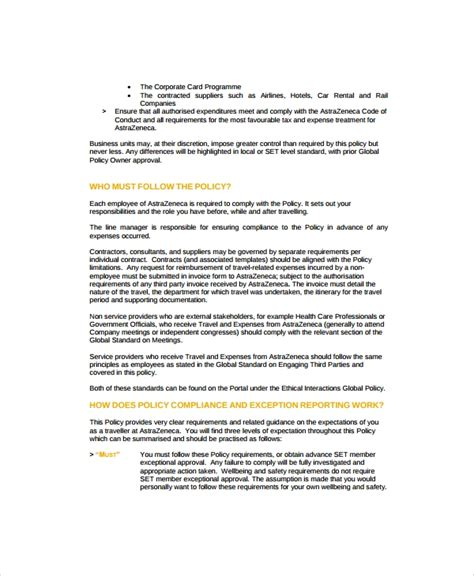 company travel policy template 9 travel policy templates sle templates