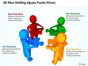 3d men holding jigsaw puzzle piecess teamwork business ppt
