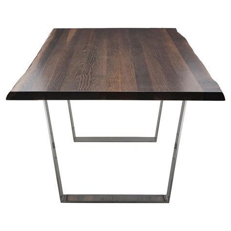 Dining Table Stainless Steel Cogsworth Industrial Brown Oak Stainless Steel Dining Table 96w Kathy Kuo Home