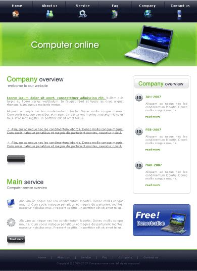 free computer website templates free website templatesfree yt cp0107 template