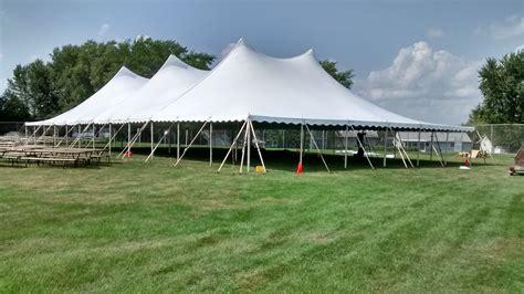 "60' x 120' ""twin pole"" rope & pole tent rental: IA, IL, MO"