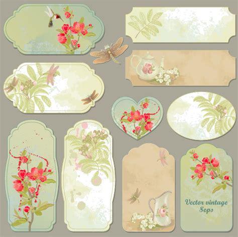 design flower tag excellent vintage flower labels vector 04 vector flower