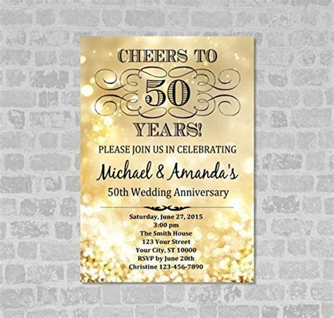 50th Wedding Anniversary Gift Ideas Gold by Golden Wedding Anniversary Invitation Gold Sparkle