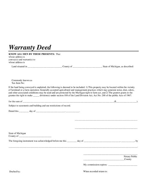 2019 Warranty Deed Form Fillable Printable Pdf Forms Handypdf Michigan Warranty Deed Template