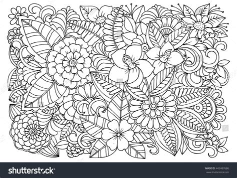 gogh coloring book grayscale coloring for relaxation coloring book therapy creative grayscale coloring books black white flower pattern coloring doodle stock vector