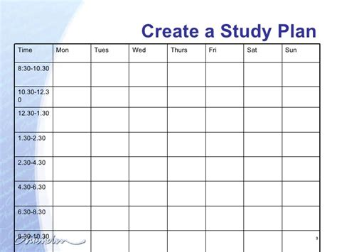 templates for studies creating a study plan today