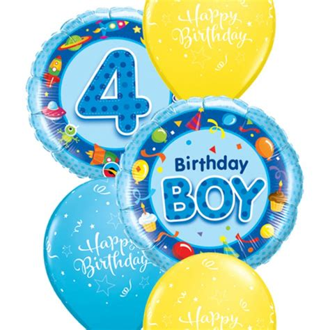 Happy Birthday Wishes 4 Year Boy Boys 4th Birthday Balloon Bouquet Party Fever