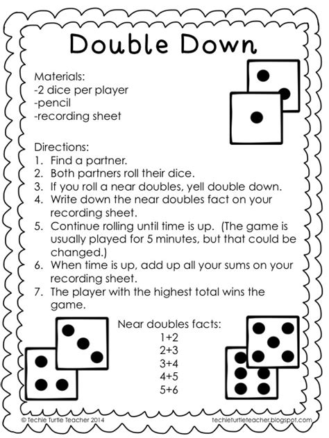 printable doubles games techie turtle teacher freebie double down dice game for