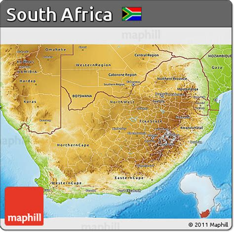 south africa physical map free physical 3d map of south africa