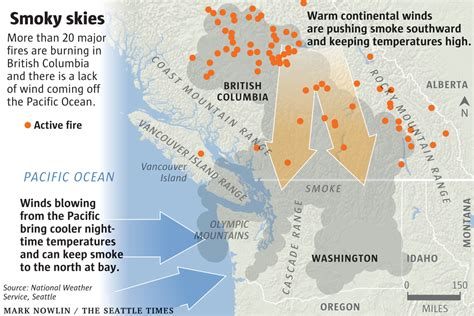 seattle air quality map why so much smoke in seattle from b c wildfires nature