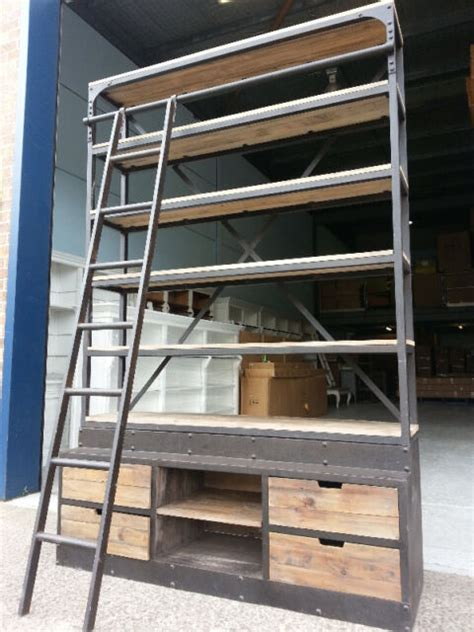 rustic ladder bookcase new industrial recycled vintage rustic bookcase