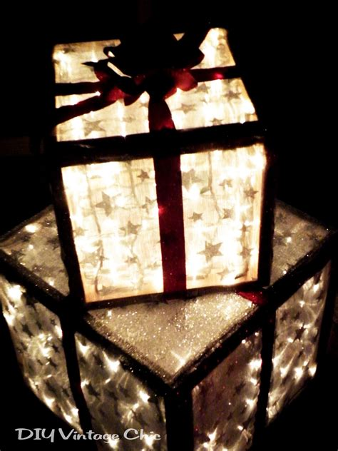 outdoor lighted christmas presents diy vintage chic how to make lighted christmas presents