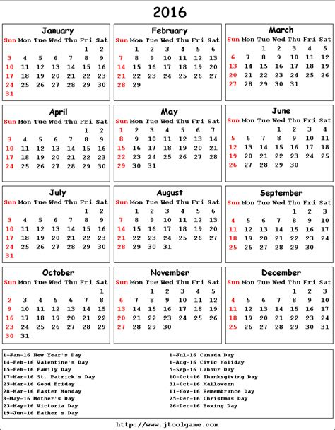 Printable Monthly Calendars 2016 Canada | february 2016 calendar canada 2017 printable calendar