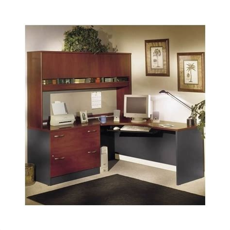 Corner L Shaped Office Desk With Hutch Computer Desk Home Office Workstation Corner L Shape Desk Set With Hutch Cherry Ebay