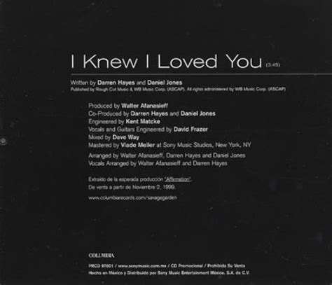 I Knew I Loved You By Savage Garden by Savage Garden I Knew I Loved You Mexican Promo Cd Single Cd5 5 Quot 147827