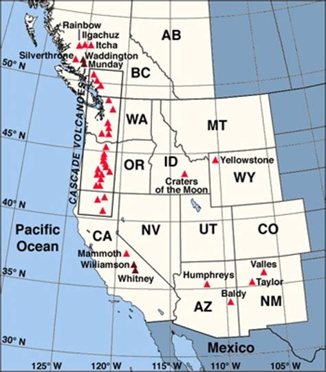 volcanoes in the united states map western united states canada volcanoes geo planet