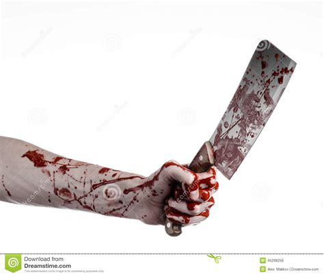 Devil Kitchen Knives Bloody Halloween Theme Bloody Hand Holding A Large Bloody