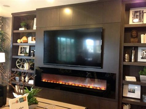 modern entertainment wall with fireplace tv wall