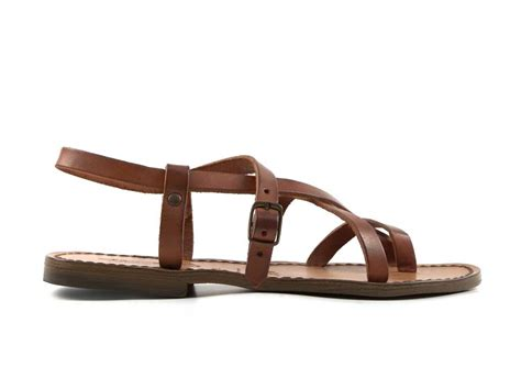 strappy brown sandals womens flat strappy sandals handmade in real leather