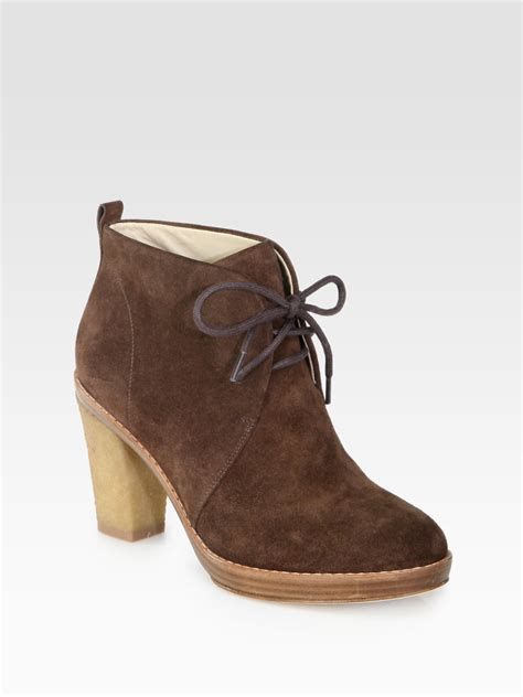 kors by michael kors lena suede laceup ankle boots in
