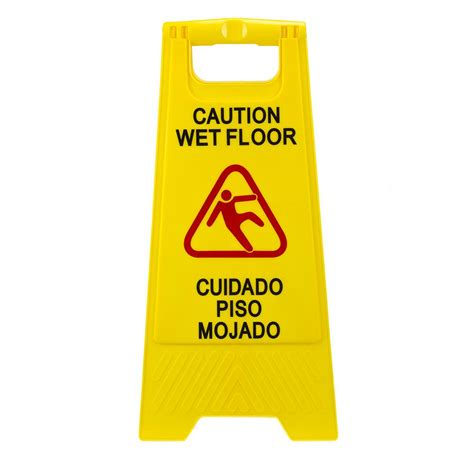 plastic multi lingual yellow 25 in x 12 in caution