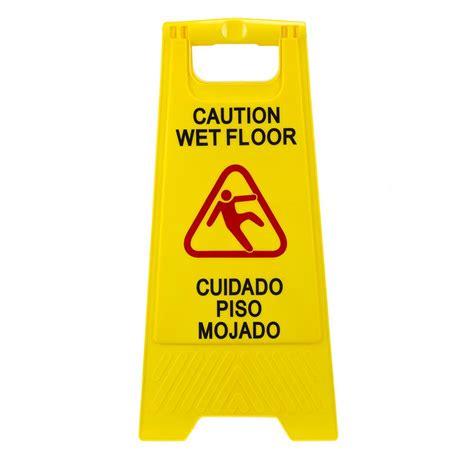 Plastic Multi Lingual Yellow      Caution Wet