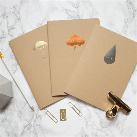 Raindrop Notebook silver raindrop kraft a5 notebook by sparrow and wolf