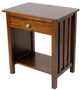27 Inch Nightstand Casual Home Stand With Usb Port 27 Inch Warm Brown