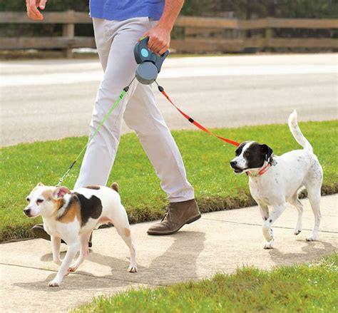on leash dual doggie pet leash retractable leash for walking 2 dogs at a time