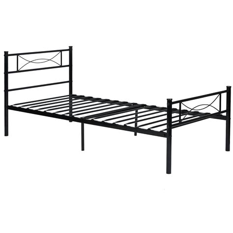 full size metal bed platform metal bed frame foundation headboard furniture bedroom twin full size ebay