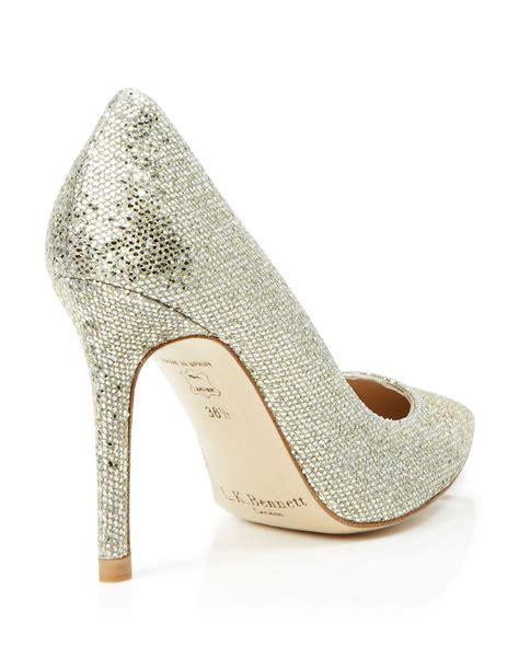 silver glitter high heel pumps l k pointed toe pumps fern glitter mesh high