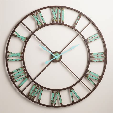 Large Antique Turquoise Metal Oval Wall Clock Clocks For Room
