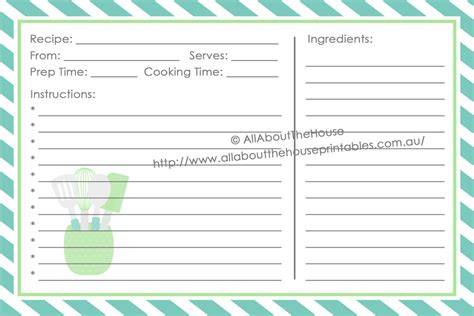 Template For Printing 2 Cards On A Page by Recipe Card Printable Template Blue Green Stripe 4 X 6