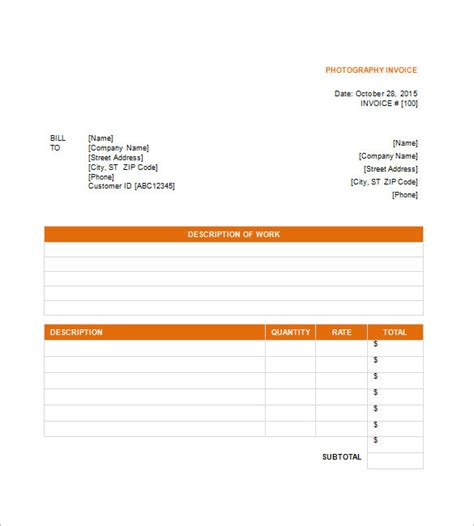 invoice template for photographers photography invoice template 6 free sle exle