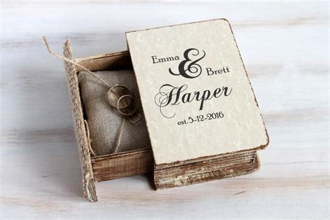 rustic ring bearer box wedding ring box personalized ring