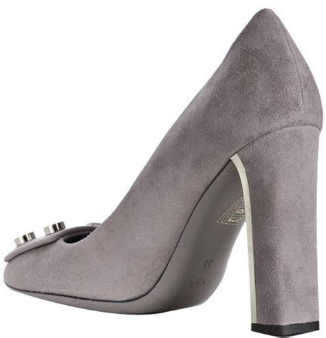 light grey suede pumps gucci light grey suede pumps in gray grey lyst
