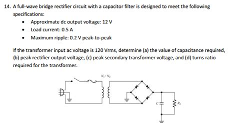 filter capacitor formula for half wave rectifier a wave bridge rectifier circuit with a capaci chegg