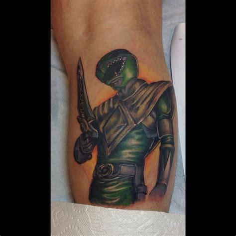 green power ranger tattoo done by courtney raimondi at