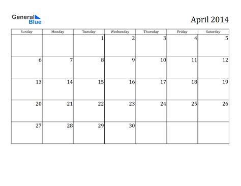april 2014 calendar printable 1 printable calendar 2014