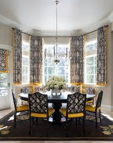 Patterned Grey Curtains How To Use Yellow To Shape A Refreshing Dining Room