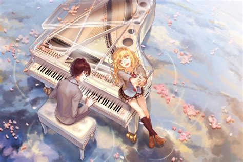 wallpaper hd anime shigatsu wa kimi no uso kaori and arima wallpaper and background 1366x911 id