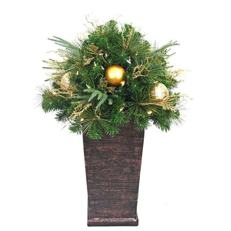 battery lit artficial topiaries home accents 36 in valenzia artificial topiary with resin pot and 50 battery operated