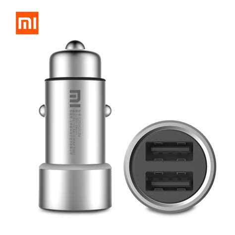 Charger Xiaomi Original Android Tipe C Tc Xiaomi Model Android original xiaomi mi car charger czcdq01zm dual usb 5v 3 6a charge metal apply to android