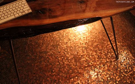 1 Pence Coin Floor - tile floors using copper coins as mosaic tiles