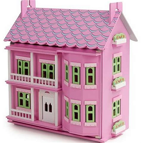 pink wooden dolls house furniture mamakiddies georgian wooden doll house with furniture and dolls pink review