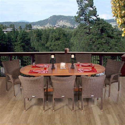 9 Pc Patio Dining Set Amazonia Renaissance 9 Patio Dining Set Rennaissance Set Deluxe The Home Depot