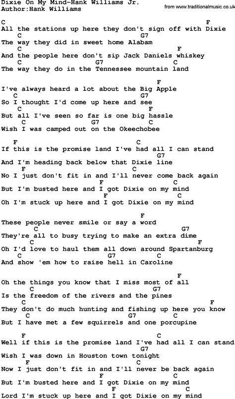 my lyrics williams country dixie on my mind hank williams jr lyrics and